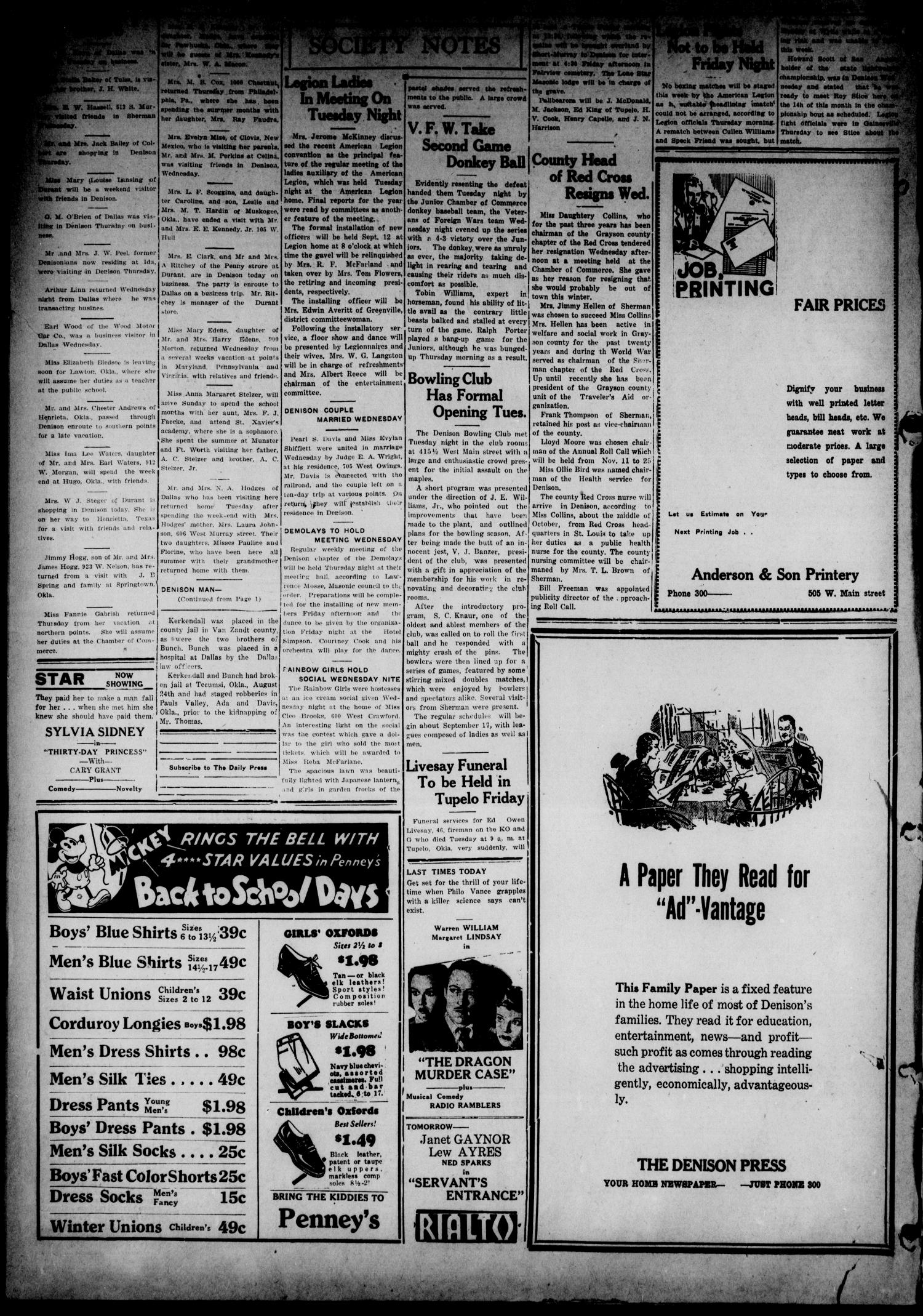 The Denison Press (Denison, Tex.), Vol. 4, No. 77, Ed. 1 Thursday, September 6, 1934                                                                                                      [Sequence #]: 4 of 4