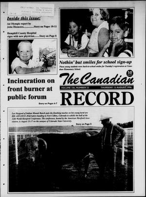 Primary view of object titled 'The Canadian Record (Canadian, Tex.), Vol. 106, No. 33, Ed. 1 Thursday, August 15, 1996'.