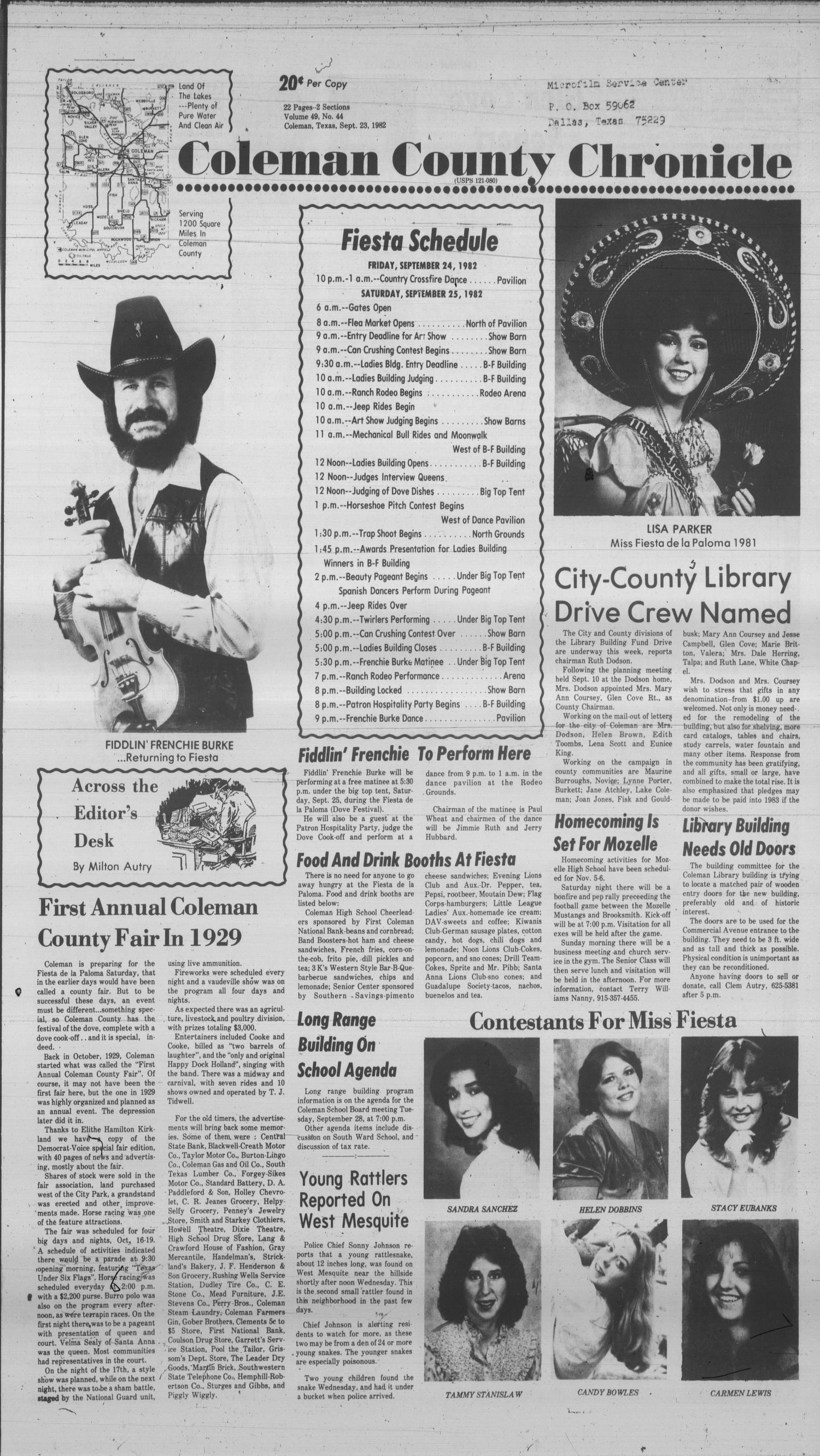 Coleman County Chronicle (Coleman, Tex.), Vol. 49, No. 44, Ed. 1 Thursday, September 23, 1982                                                                                                      [Sequence #]: 1 of 22