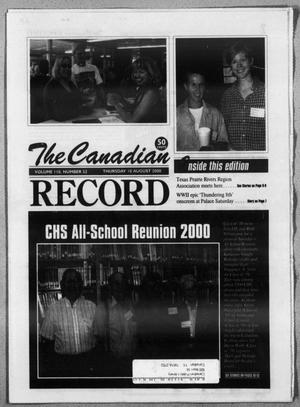 Primary view of object titled 'The Canadian Record (Canadian, Tex.), Vol. 110, No. 32, Ed. 1 Thursday, August 10, 2000'.