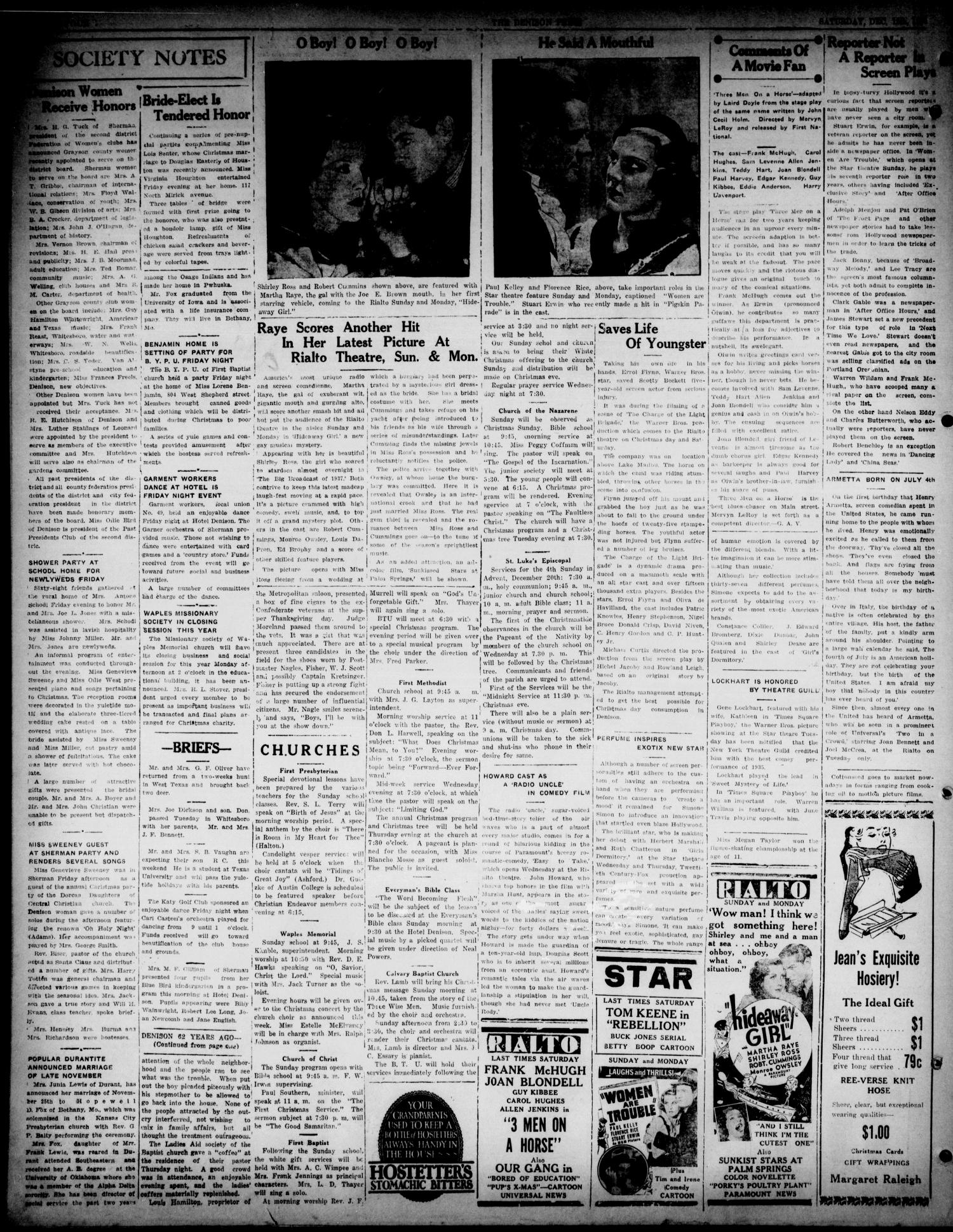 The Denison Press (Denison, Tex.), Vol. 3, No. 149, Ed. 1 Saturday, December 19, 1936                                                                                                      [Sequence #]: 4 of 4