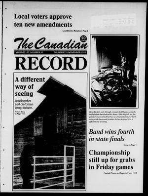 Primary view of object titled 'The Canadian Record (Canadian, Tex.), Vol. 105, No. 45, Ed. 1 Thursday, November 9, 1995'.