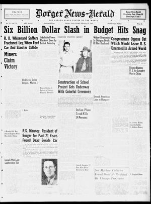 Primary view of object titled 'Borger News-Herald (Borger, Tex.), Vol. 21, No. 70, Ed. 1 Sunday, February 16, 1947'.