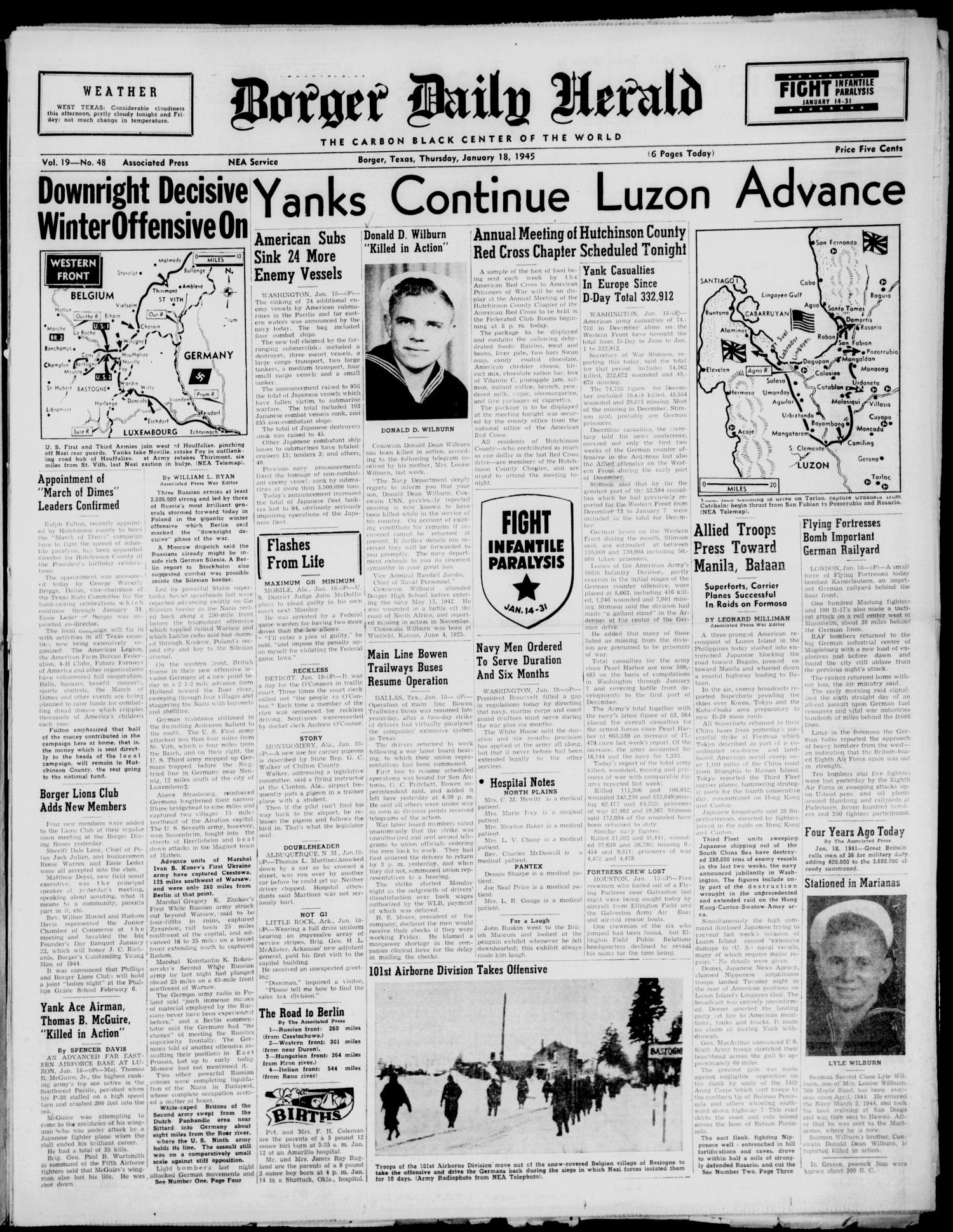 Borger Daily Herald (Borger, Tex.), Vol. 19, No. 48, Ed. 1 Thursday, January 18, 1945                                                                                                      [Sequence #]: 1 of 6