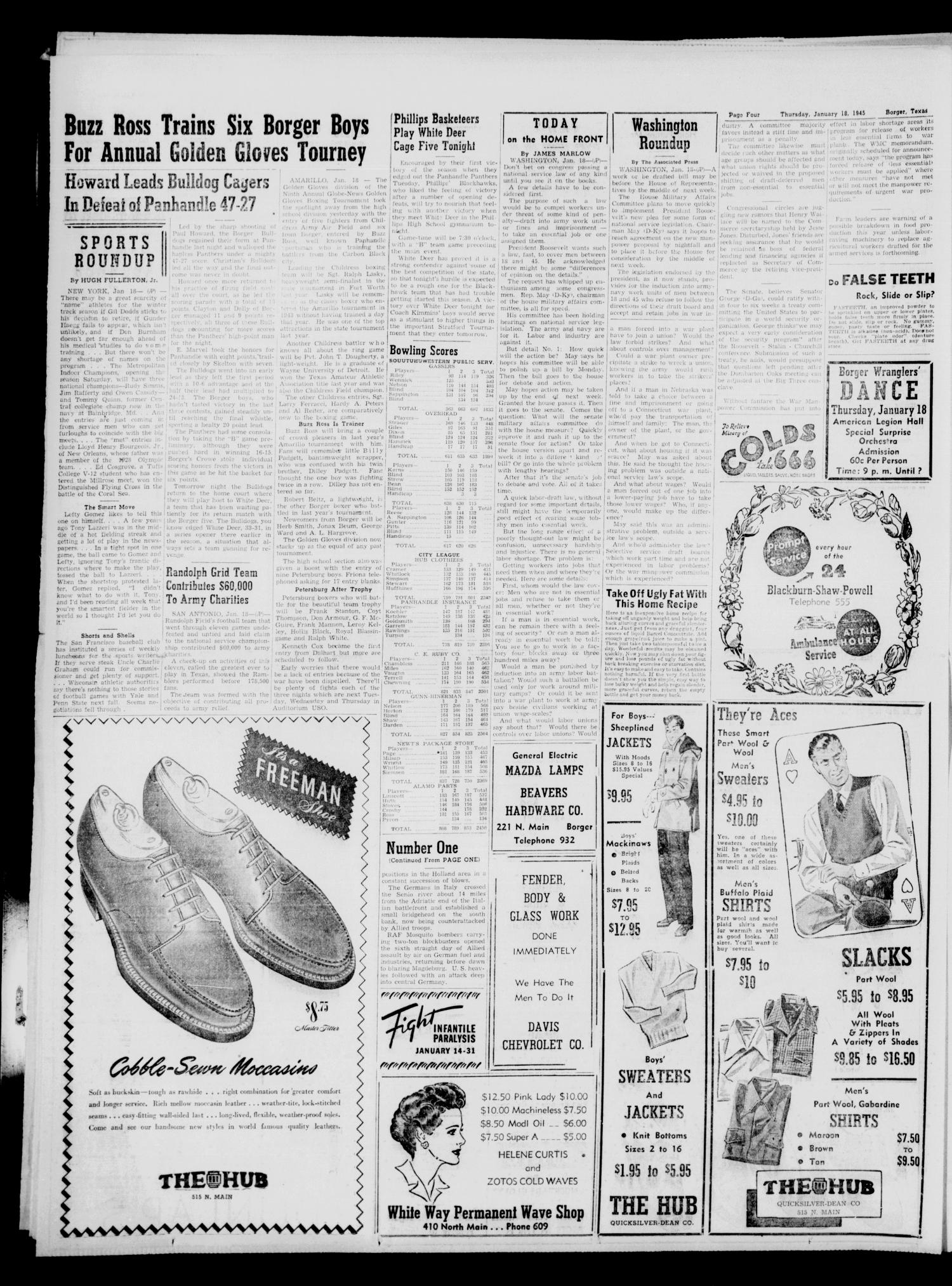 Borger Daily Herald (Borger, Tex.), Vol. 19, No. 48, Ed. 1 Thursday, January 18, 1945                                                                                                      [Sequence #]: 4 of 6