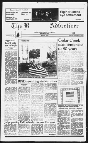 Primary view of object titled 'The Bastrop Advertiser (Bastrop, Tex.), Vol. 142, No. 74, Ed. 1 Saturday, November 11, 1995'.