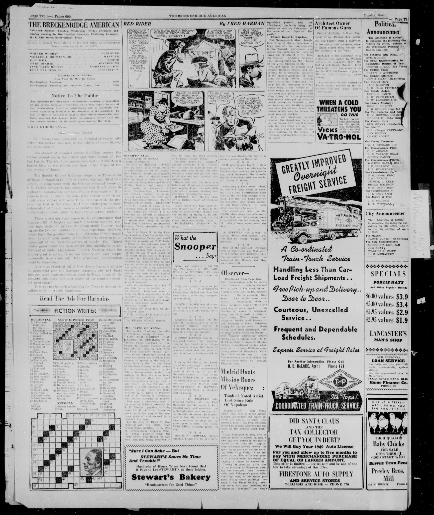 Breckenridge American (Breckenridge, Tex.), Vol. 20, No. 180, Ed. 1, Monday, March 11, 1940                                                                                                      [Sequence #]: 1 of 3