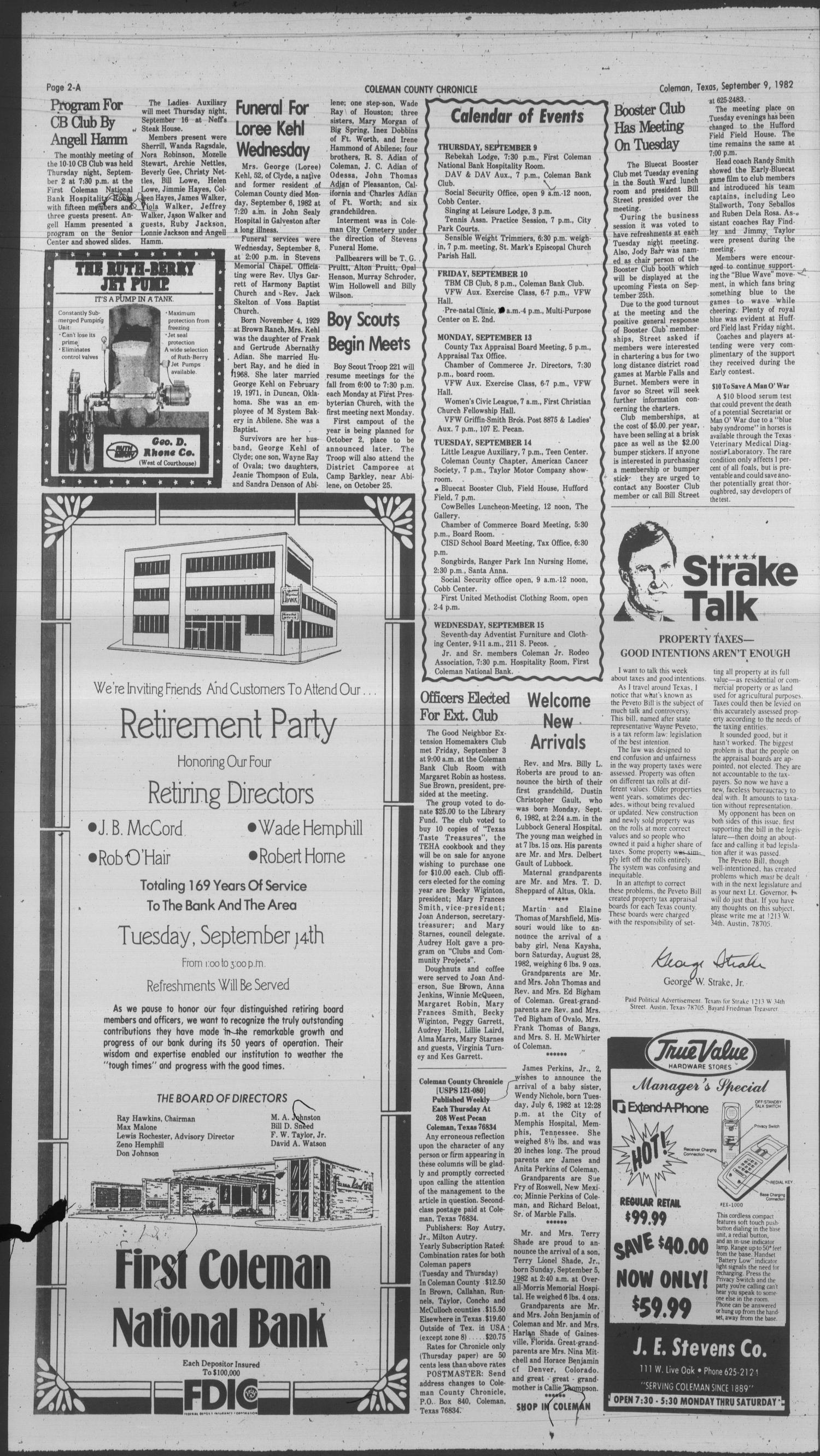 Coleman County Chronicle (Coleman, Tex.), Vol. 49, No. 42, Ed. 1 Thursday, September 9, 1982                                                                                                      [Sequence #]: 2 of 20