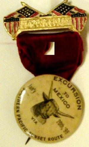 "Primary view of object titled '[Medal and button connected by a red ribbon reads ""FORT WORTH CHICAGO""]'."