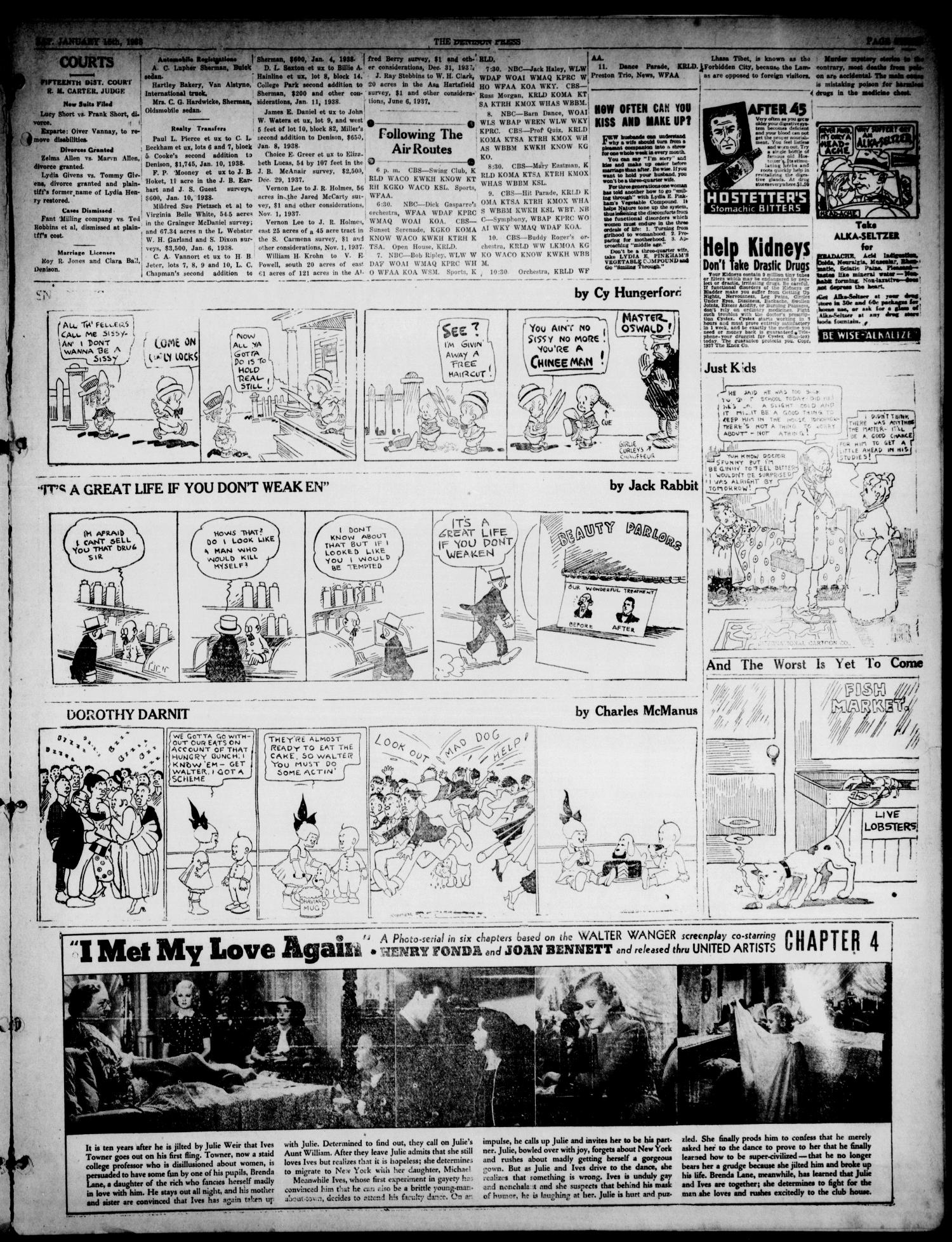 The Denison Press (Denison, Tex.), Vol. 4, No. 177, Ed. 1 Saturday, January 15, 1938                                                                                                      [Sequence #]: 3 of 15