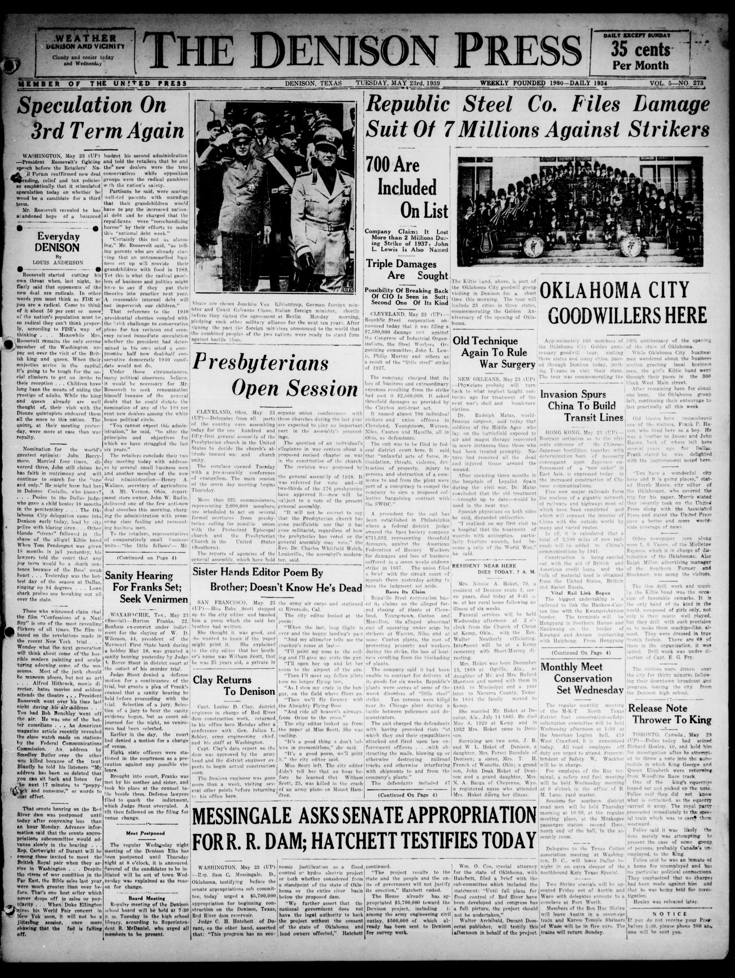 The Denison Press (Denison, Tex.), Vol. 5, No. 273, Ed. 1 Tuesday, May 23, 1939                                                                                                      [Sequence #]: 1 of 4