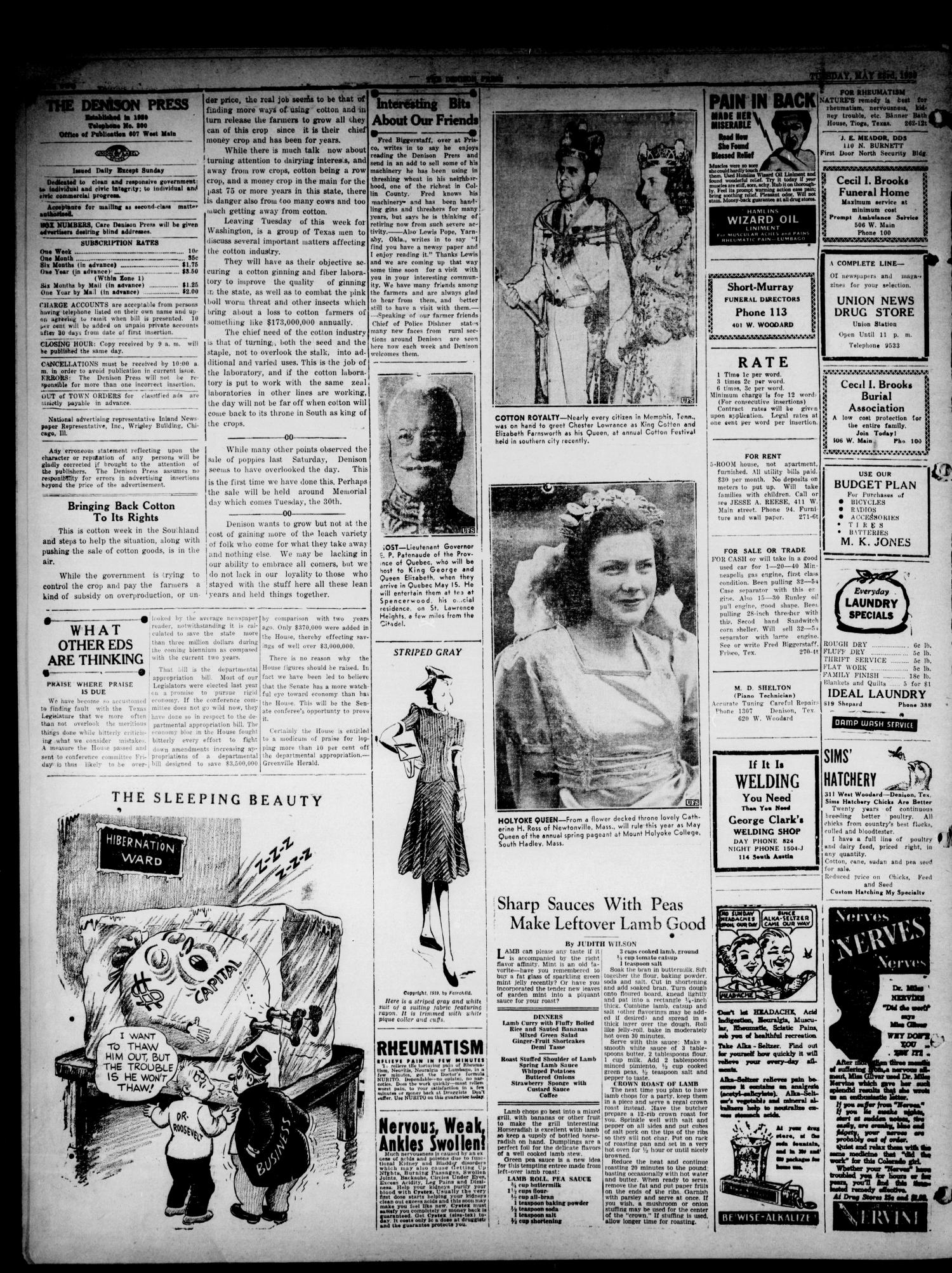 The Denison Press (Denison, Tex.), Vol. 5, No. 273, Ed. 1 Tuesday, May 23, 1939                                                                                                      [Sequence #]: 2 of 4