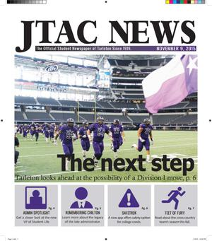 Primary view of object titled 'JTAC News (Stephenville, Tex.), Ed. 1 Monday, November 9, 2015'.