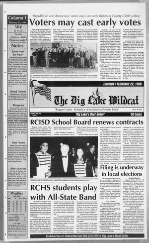 The Big Lake Wildcat (Big Lake, Tex.), Vol. SEVENTY FIRST YEAR, No. 8, Ed. 1 Thursday, February 22, 1996