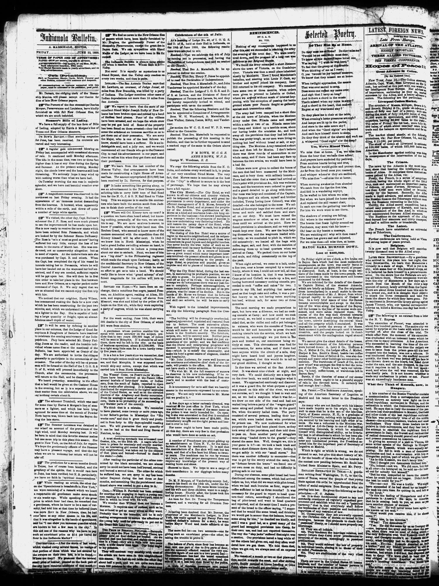 The Indianola Bulletin. (Indianola, Tex.), Vol. 1, No. 11, Ed. 1 Friday, June 22, 1855                                                                                                      [Sequence #]: 2 of 4
