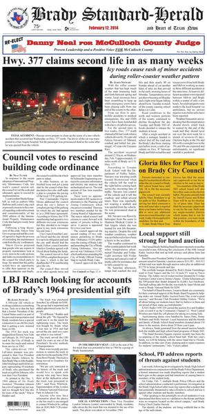 Primary view of object titled 'Brady Standard-Herald and Heart of Texas News (Brady, Tex.), Ed. 1 Wednesday, February 12, 2014'.