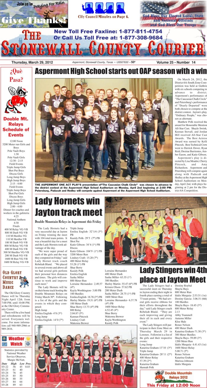 The Stonewall County Courier Aspermont Tex Vol 25 No 14 Ed