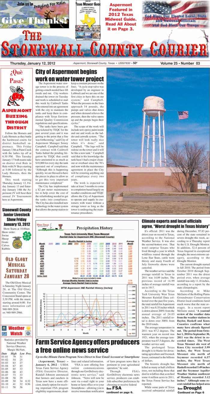 The Stonewall County Courier Aspermont Tex Vol 25 No 3 Ed