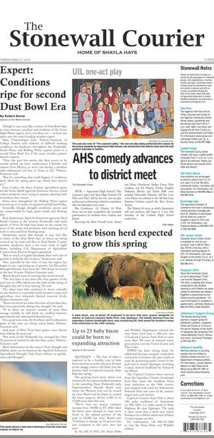 The Stonewall Courier (Aspermont, Tex.), Vol. 27, No. 8, Ed. 1 Thursday, March 27, 2014