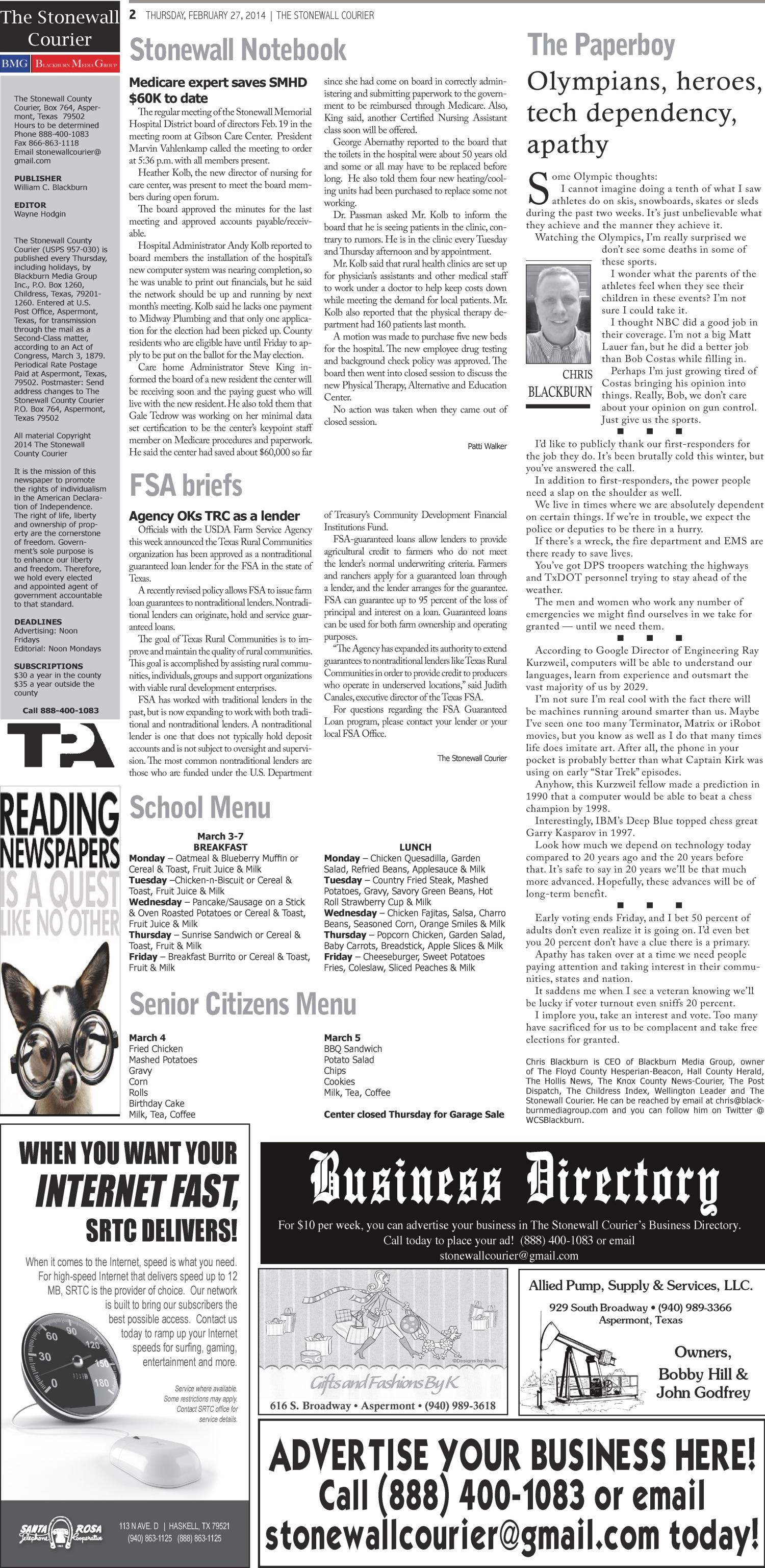 The Stonewall Courier (Aspermont, Tex.), Vol. 27, No. 4, Ed. 1 Thursday, February 27, 2014                                                                                                      [Sequence #]: 2 of 8