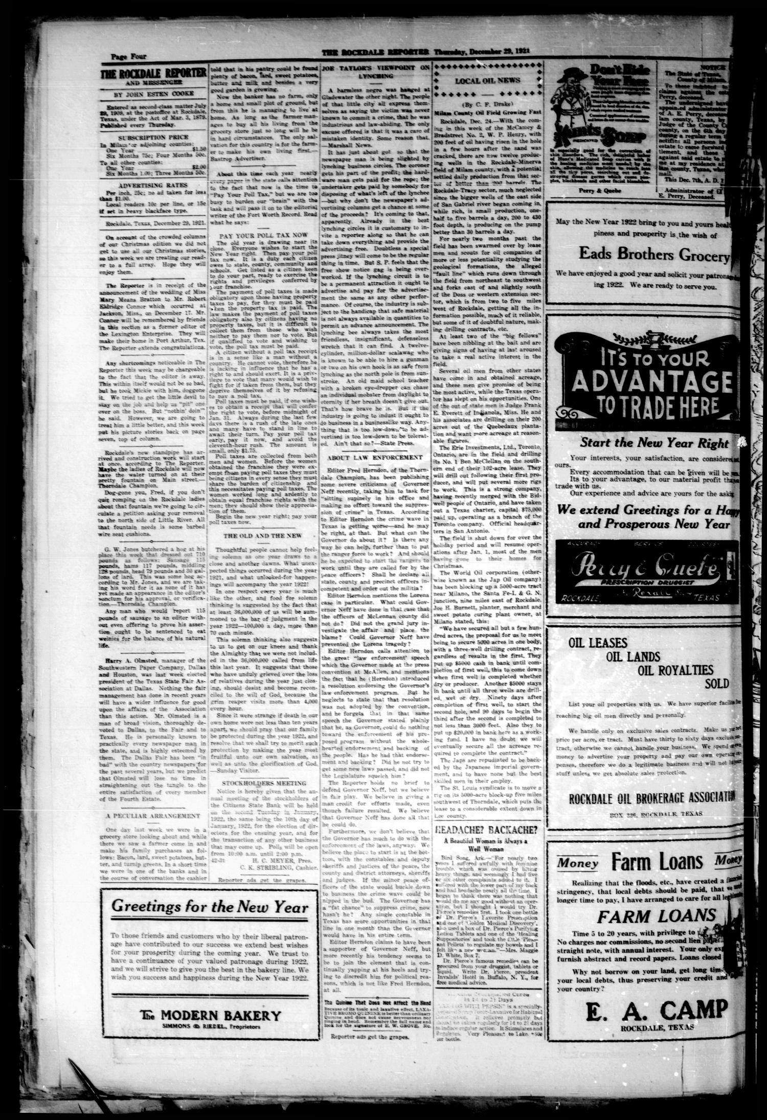 The Rockdale Reporter and Messenger (Rockdale, Tex.), Vol. [49], No. 44, Ed. 1 Thursday, December 29, 1921                                                                                                      [Sequence #]: 4 of 8
