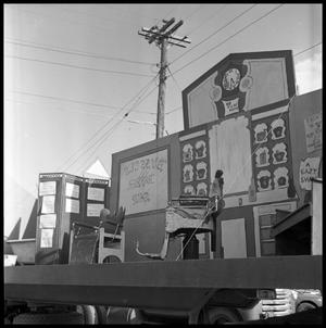 Primary view of object titled '[Parade Float Representing a Barber Shop]'.