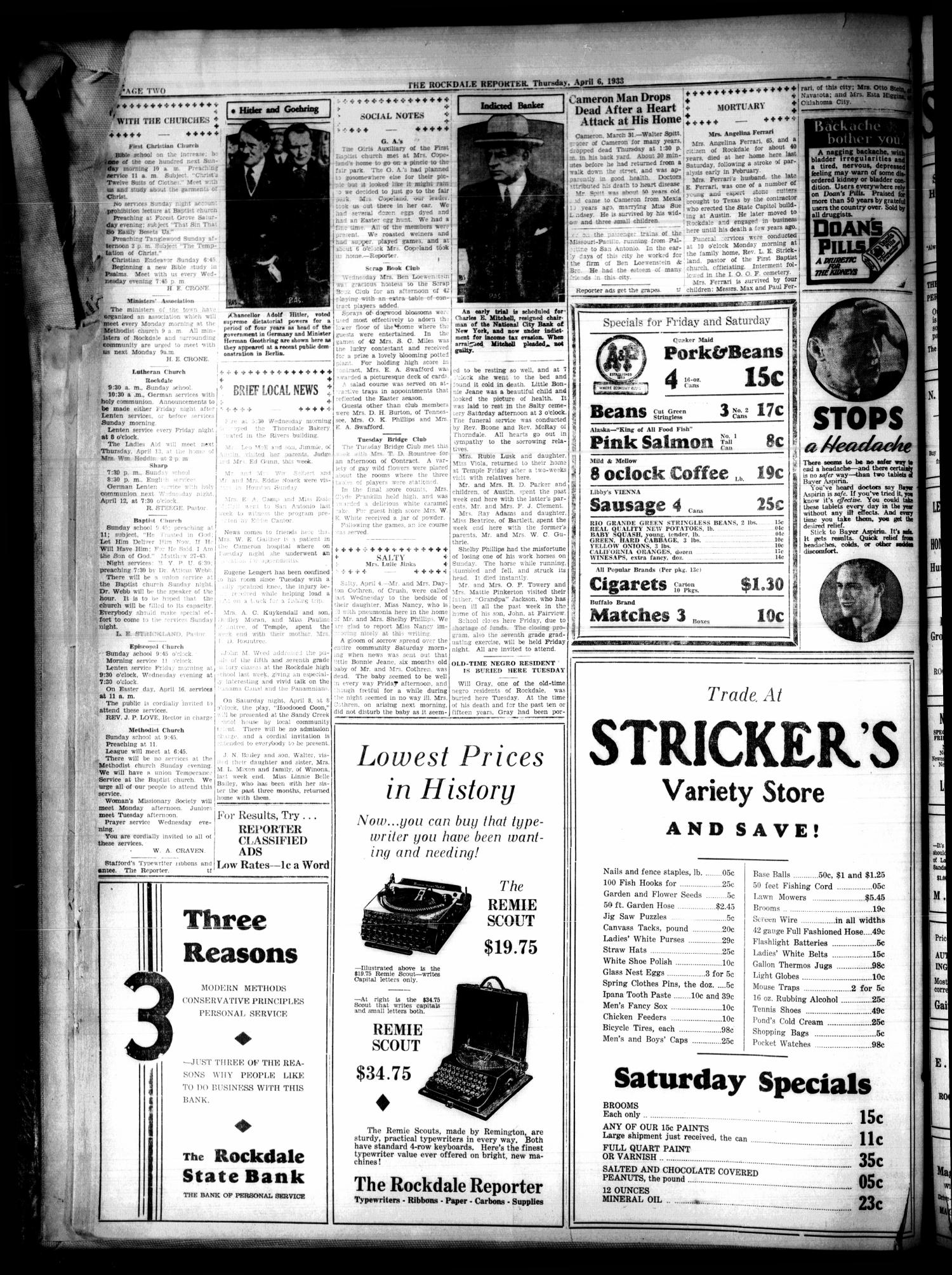 The Rockdale Reporter and Messenger (Rockdale, Tex.), Vol. 61, No. 8, Ed. 1 Thursday, April 6, 1933                                                                                                      [Sequence #]: 2 of 6