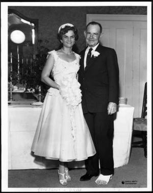 Primary view of object titled '[Photograph of a bride and groom, Mr. And Mrs. Pete Frost. Mrs. Frost]'.