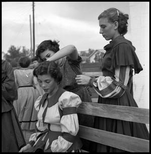 Primary view of object titled '[Young Women  Styling Another's Hair]'.