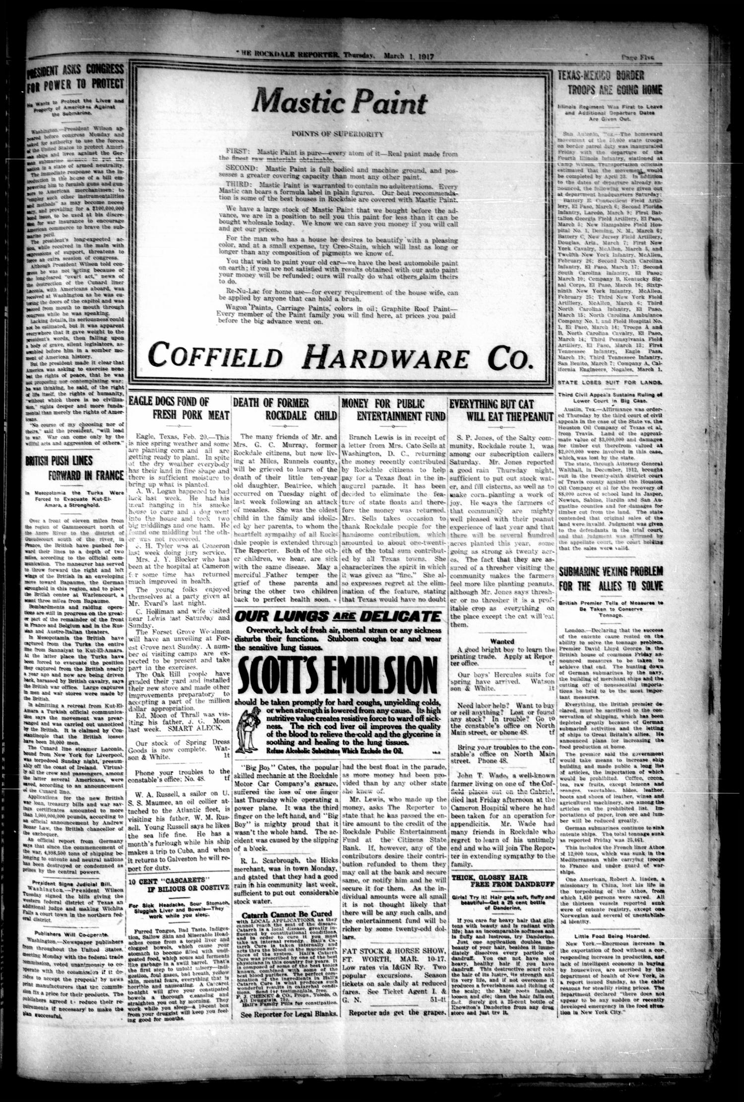 The Rockdale Reporter and Messenger (Rockdale, Tex.), Vol. 44, No. 52, Ed. 1 Thursday, March 1, 1917 - Page 5 of 8 - The Portal to Texas History