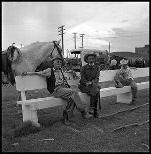 [Two Elder Men and a Boy Sitting on a Bench]