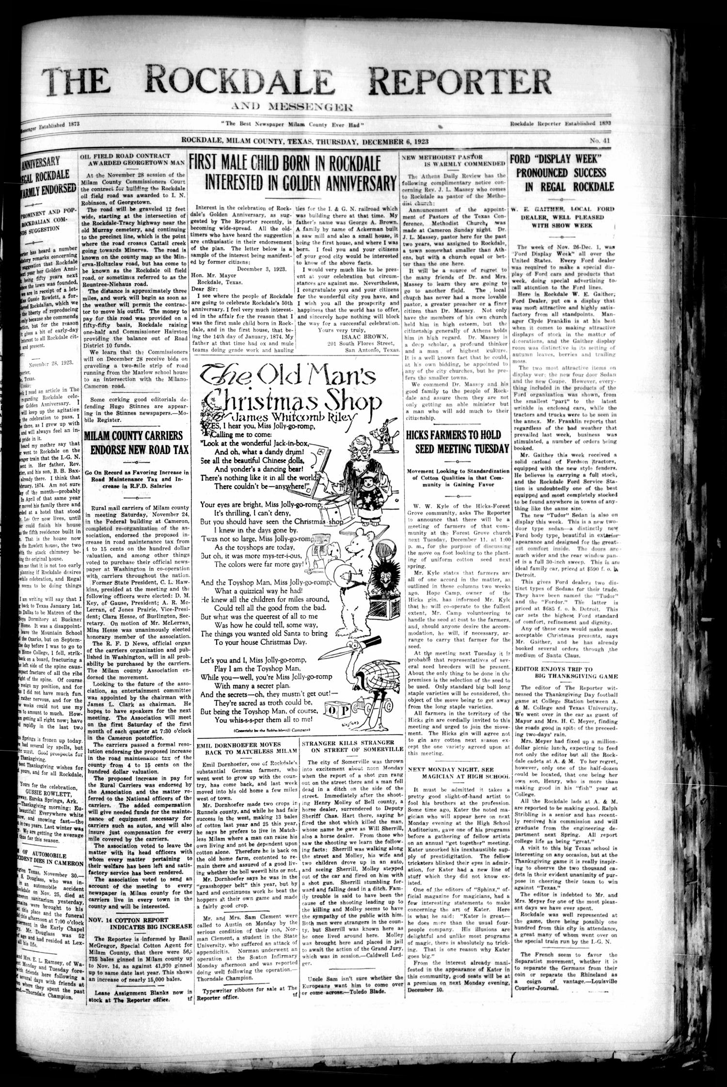 The Rockdale Reporter and Messenger (Rockdale, Tex.), Vol. [51], No. 41, Ed. 1 Thursday, December 6, 1923                                                                                                      [Sequence #]: 1 of 12