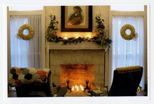 [Photograph of the Pound House Parlor Fireplace at Christmas]