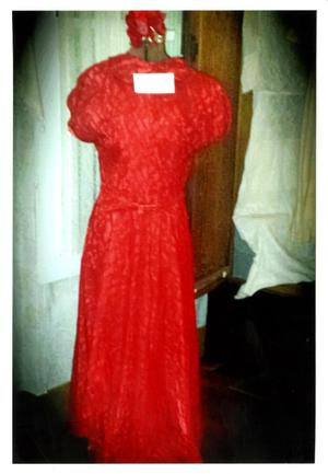 [Photograph of a Long Red Lace Dress]