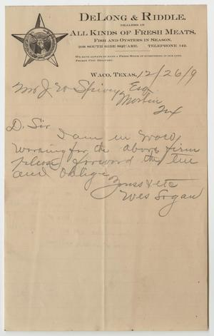 [Letter from Wes Logan to Mr. Spivey - December 26, 1909]