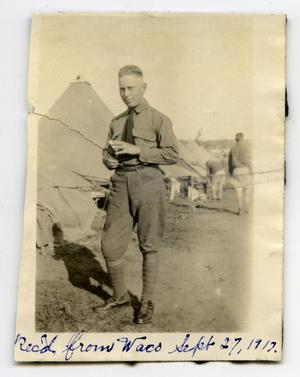 [Photograph of Soldier at Camp MacArthur]
