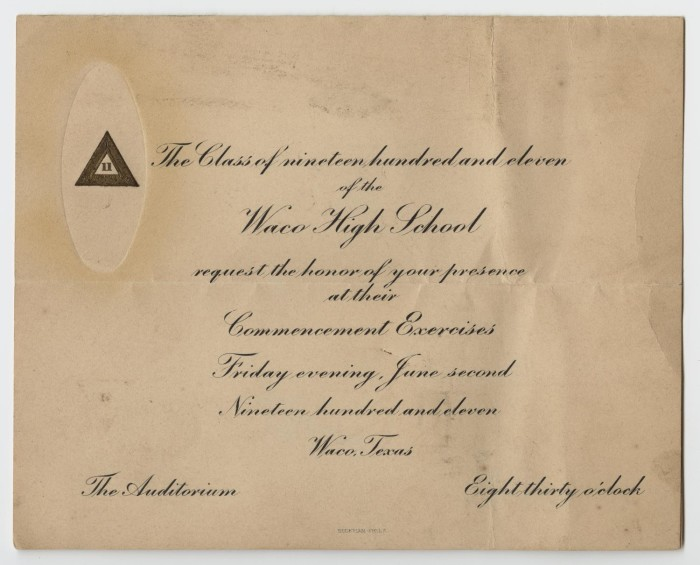 Graduation Announcement for Waco High School] - The Portal to Texas