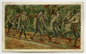[Postcard of Soldiers Hiking]
