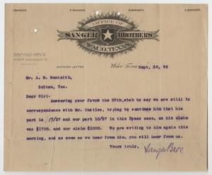 [Letter from Sanger Bros. to Mr. A.M. Monteith - September 30, 1896]