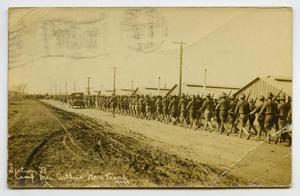 Primary view of object titled '[Postcard of Soldiers Marching at Camp MacArthur]'.