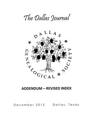 Primary view of object titled 'The Dallas Journal, December 2012: Addendum - Revised Index'.