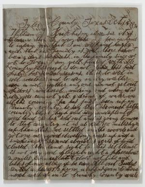 Primary view of object titled 'Letter from Alfred M. Hilliard to William J. Hutchison - October 15, 1854]'.