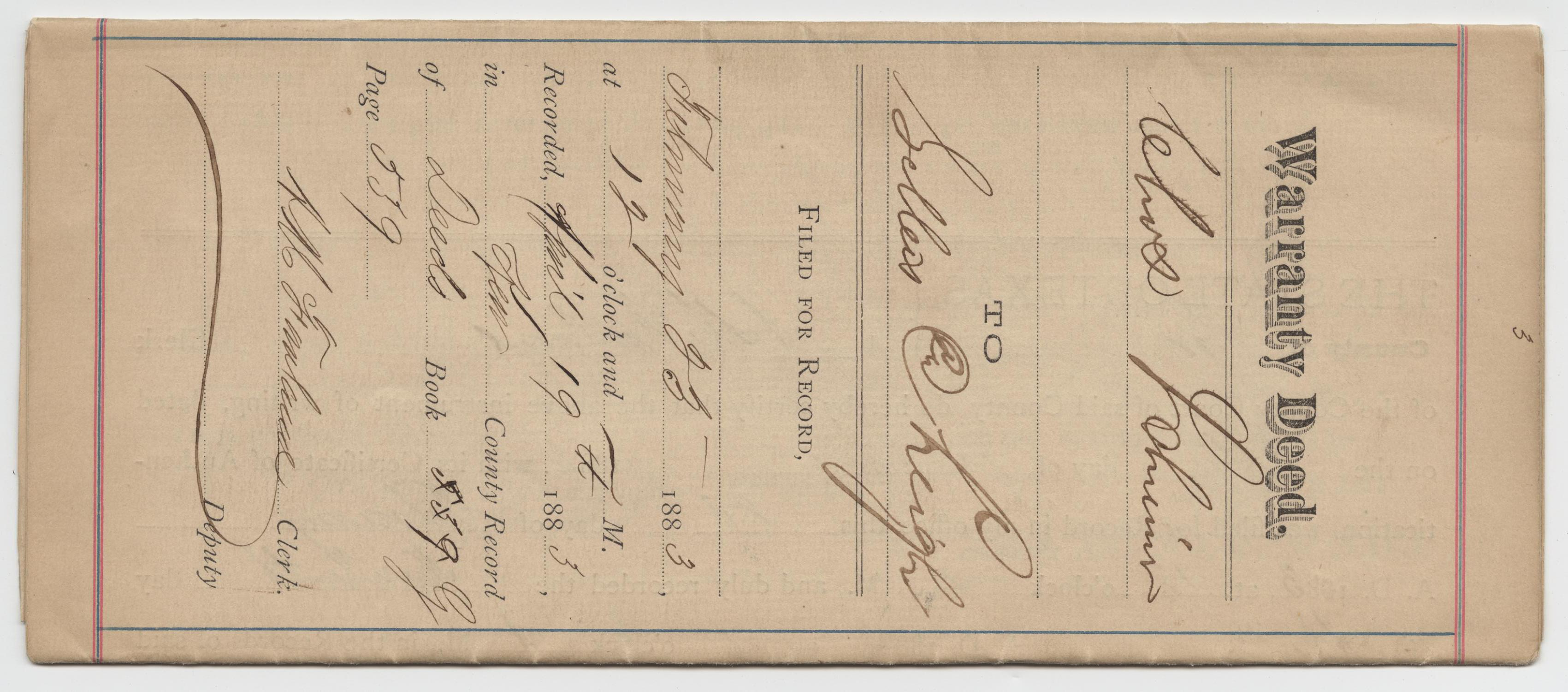 [Warranty Deed from Charles Schreiner to James Sellers and George L. Leigh, February 23, 1883]                                                                                                      [Sequence #]: 1 of 5