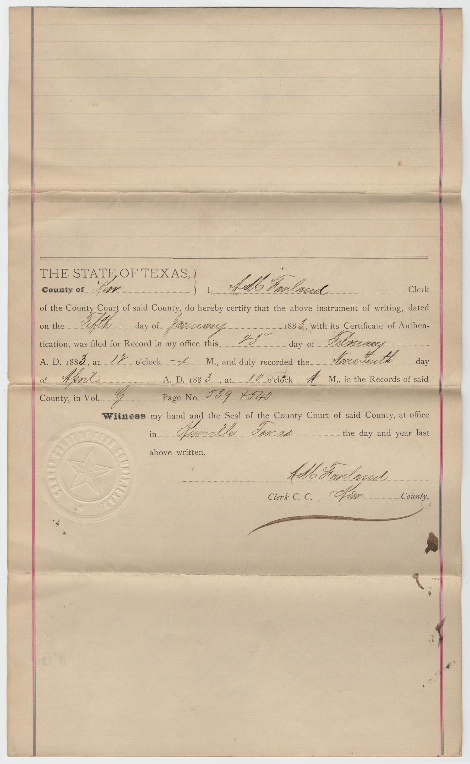 [Warranty Deed from Charles Schreiner to James Sellers and George L. Leigh, February 23, 1883]                                                                                                      [Sequence #]: 4 of 5