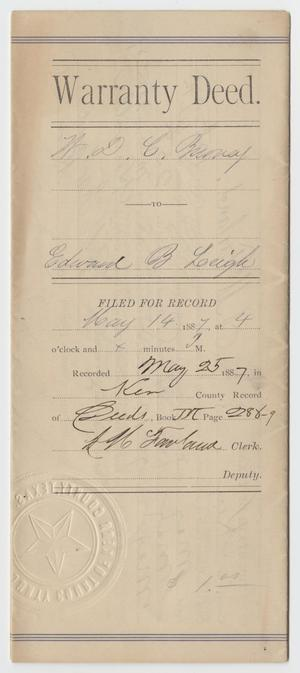 Primary view of object titled '[Warranty Deed Prepared for W. D. C. Burney and Edward B. Leigh, May 14, 1887]'.