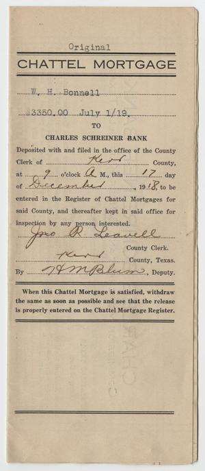 [Chattel Mortgage Agreement Between W. H. Bonnell and Charles Schreiner Bank]