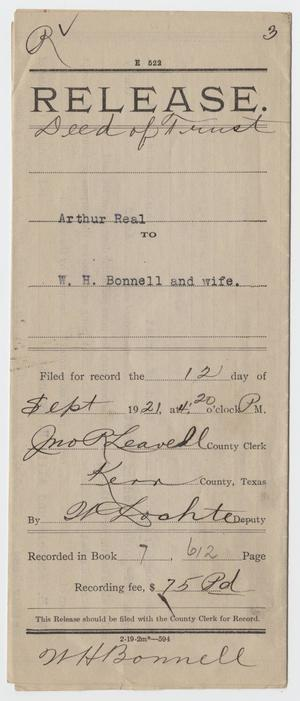 [Release Deed of Trust from Arthur Real to W. H. Bonnell]