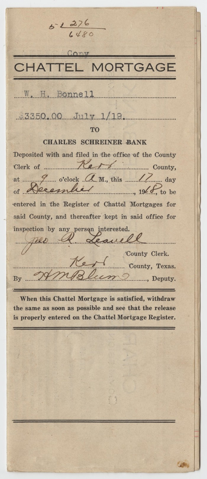 Copy of a Chattel Mortgage Agreement Between W  H  Bonnell