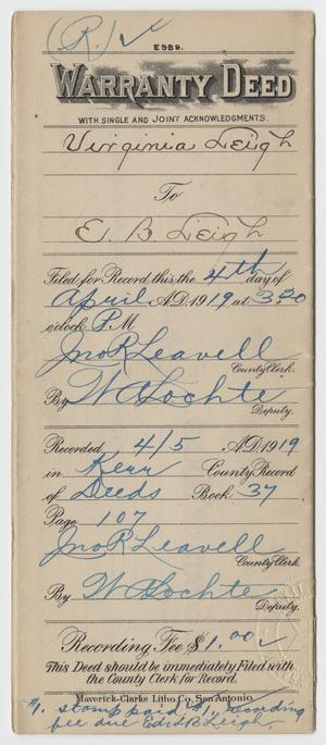 [Warranty Deed from Virginia Leigh to Edward B. Leigh]