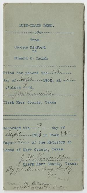 [Quit Claim Deed from George Bigford to Edward B. Leigh]